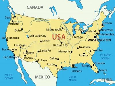 Mapa de Estados Unidos con nombres de ciudades importantes