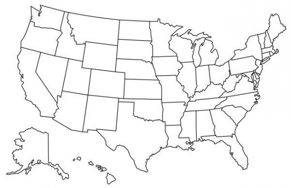 Mapa de Estados Unidos para colorear sin nombres (mapa mudo)