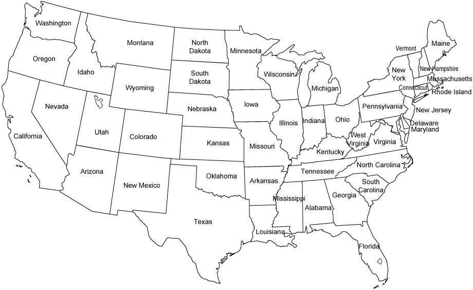 Mapa de Estados Unidos para colorear - Mapa de Estados Unidos