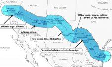 Mapa de la frontera de Estados Unidos y México