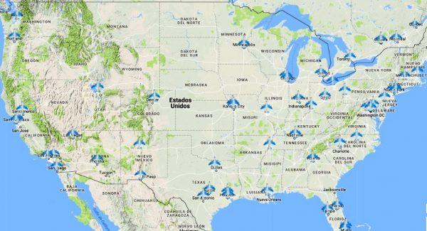 Mapa aeropuertos de Estados Unidos
