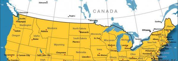 Mapa de la frontera de Estados Unidos y Canadá