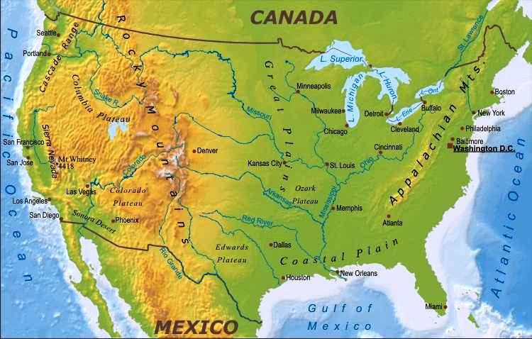 Principales ríos de Estados Unidos