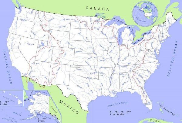 Mapa hidrográfico de Estados Unidos