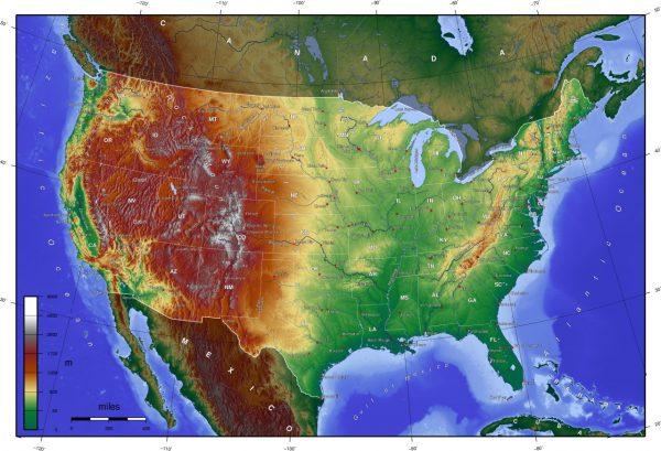 Mapa orografico de Estados Unidos